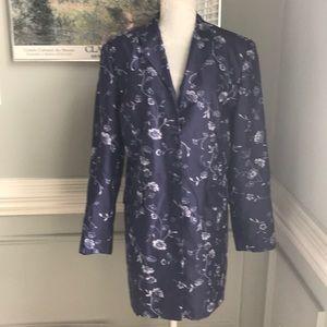 Talbots Pure Silk Purple Embroidered Long Jacket